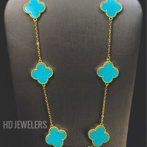 Turquoise 925 Silver 10 Motif Clover 18K Necklace